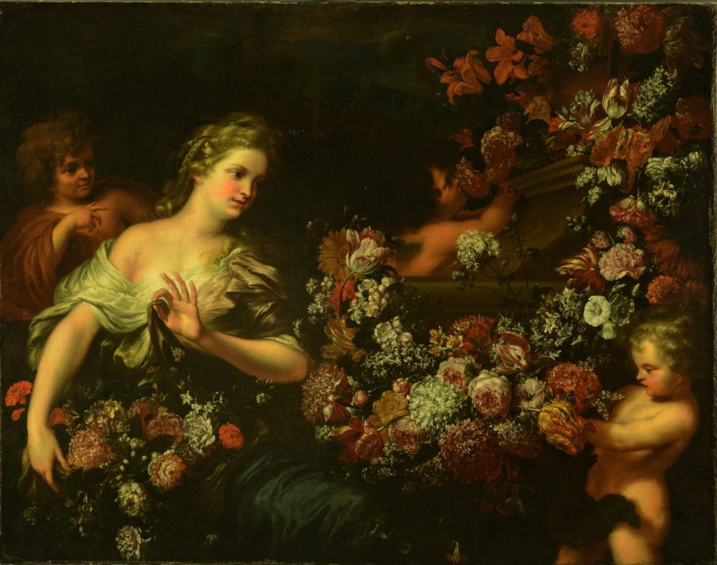 Before-restoration-woman-with-flowers